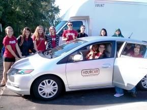 Hamline University students enjoying Hour Car