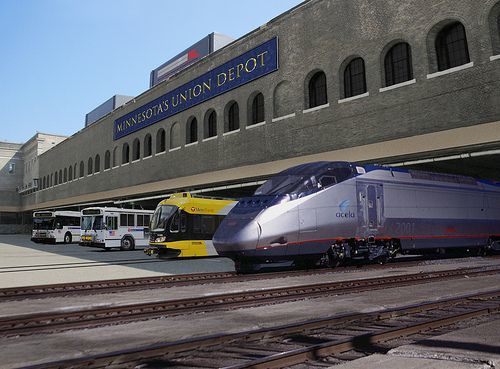 Artist's rendering of trains at Union Depot, courtesy Ramsey County