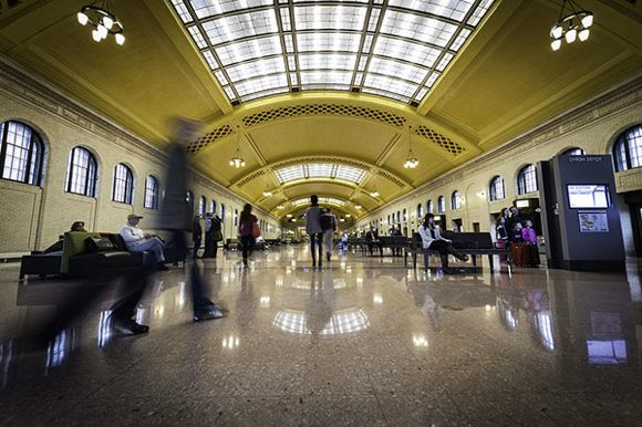 The restored Union Depot waiting room