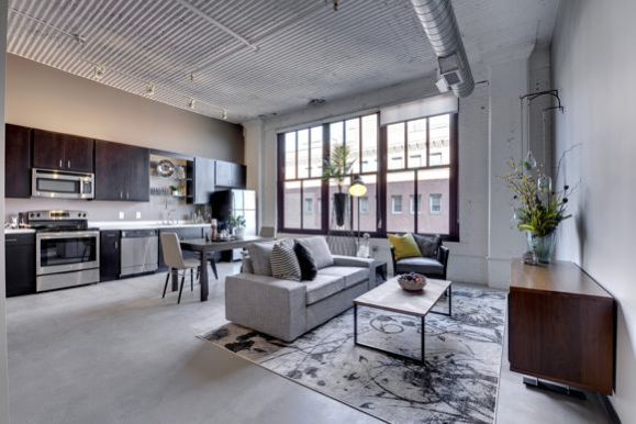 A living room at Rayette, courtesy Sherman/Rayette Lofts