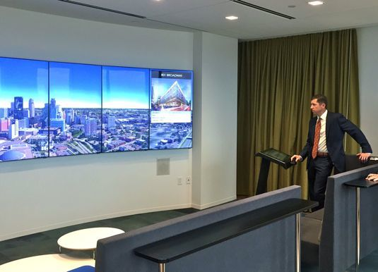 Managing director Blake Hastings demonstrates CBRE visualization tool
