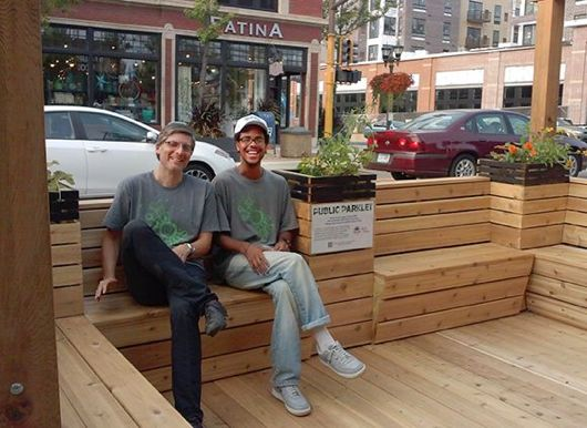 Lars Christiansen, Friendly Streets director, and organizer Darius Gray at a temporary parklet